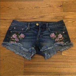 Floral Embroidered American Eagle Denim Shorts